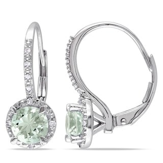 Link to Miadora Sterling Silver Green Amethyst and Diamond Accent Earrings Similar Items in Earrings