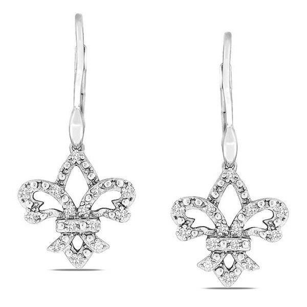 Sterling Silver 1/4ct TDW Diamond Leverback Earrings