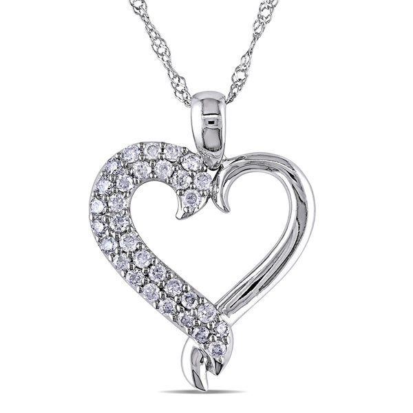 Miadora 10k White Gold 1/4ct TDW Diamond Heart Necklace