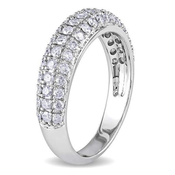 Size-12 Diamond Wedding Band in 10K White Gold 1//10 cttw, G-H,I2-I3