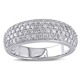 Miadora 10k White Gold 1ct TDW Pave Diamond Ring