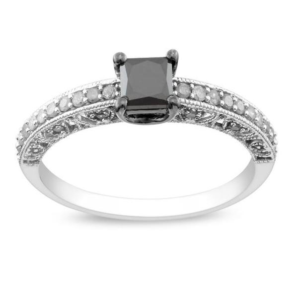 Miadora 10k White Gold 1ct TDW Princess-cut Black and White Diamond Ring