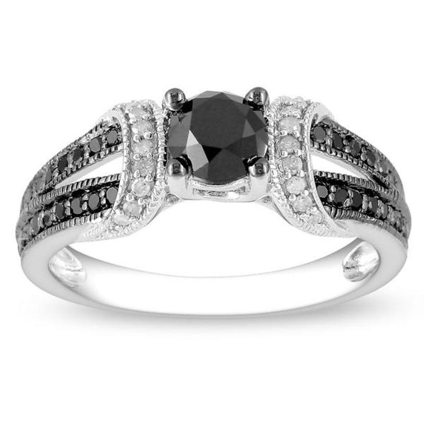 Miadora Black Rhodium-plated 1ct TDW Black and White Diamond Fashion Ring (G-H, I2-I3)