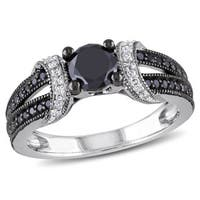 Miadora Black Rhodium-plated 1ct TDW Black and White Diamond Fashion Ring