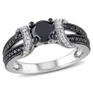 Miadora Black Rhodium-plated 1ct TDW Black and White Diamond Fashion Ring