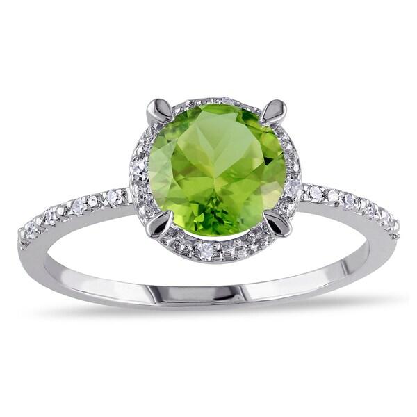Miadora Sterling Silver Peridot and Diamond Accent Ring
