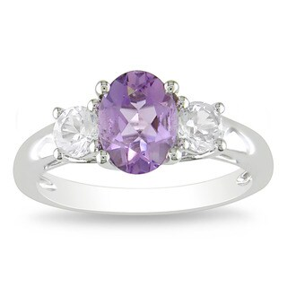 Miadora Sterling Silver Amethyst and Created White Sapphire Ring