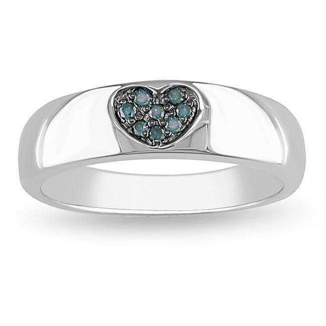 Miadora Sterling Silver Blue Diamond Accent Heart Ring - Thumbnail 0