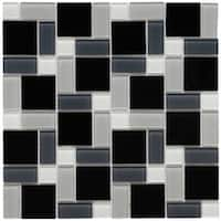 SomerTile 11.75x11.75-inch View Block Black and White Glass Mosaic Wall Tile (20 tiles/19.59 sqft.)