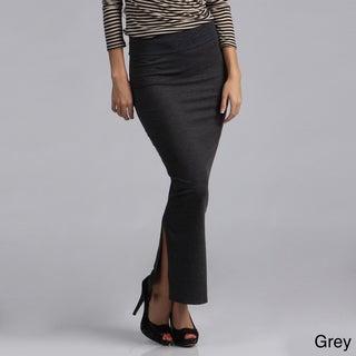 Tabeez Women's Fold-over Waist Stretch Maxi Skirt