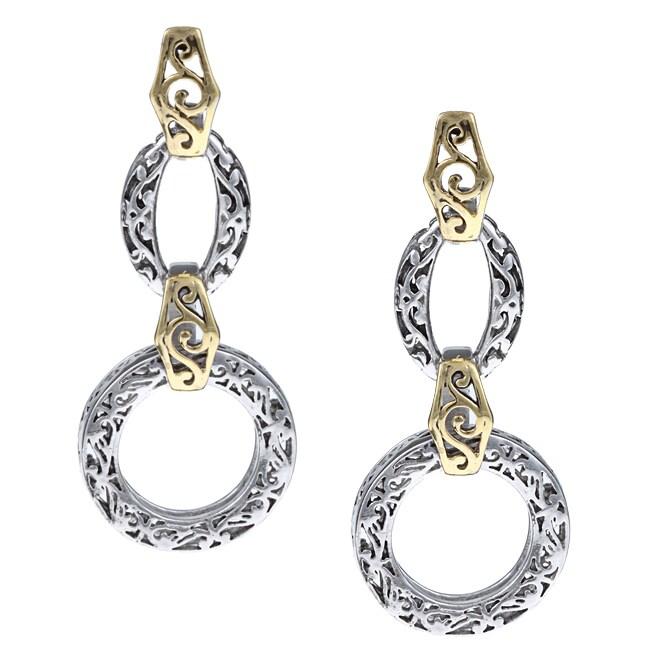 La Preciosa Sterling Silver Two-tone Designed Dangling Earrings