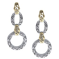 La Preciosa Sterling Silver Two-tone Designed Dangling Earrings