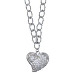 La Preciosa Sterling Silver Two-Tone Cubic Zirconia Heart Necklace