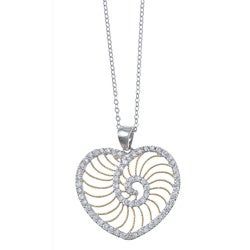 La Preciosa Sterling Silver Two-tone Cubic Zirconia Heart Necklace