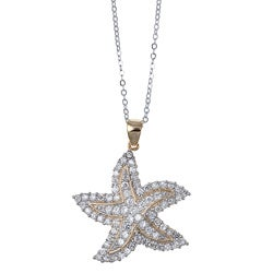 La Preciosa Sterling Silver Two-tone Cubic Zirconia Starfish Necklace