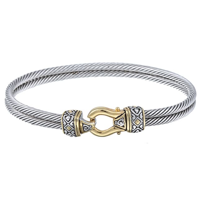 La Preciosa Sterling Silver Two-tone Designed Bangle