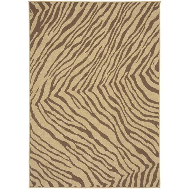 Picnic Brown Zebra Print Indoor/Outdoor Rug (6' ... - Picnic Brown Zebra Print Indoor/Outdoor Rug (6' X 9') - Free