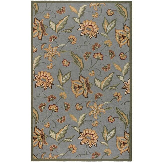 Hand-hooked Bliss Green Indoor/Outdoor Floral Rug (9' x 12')