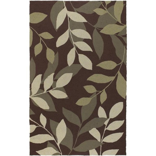 Hand-hooked Bliss Moss Green Floral Rug (9' x 12')