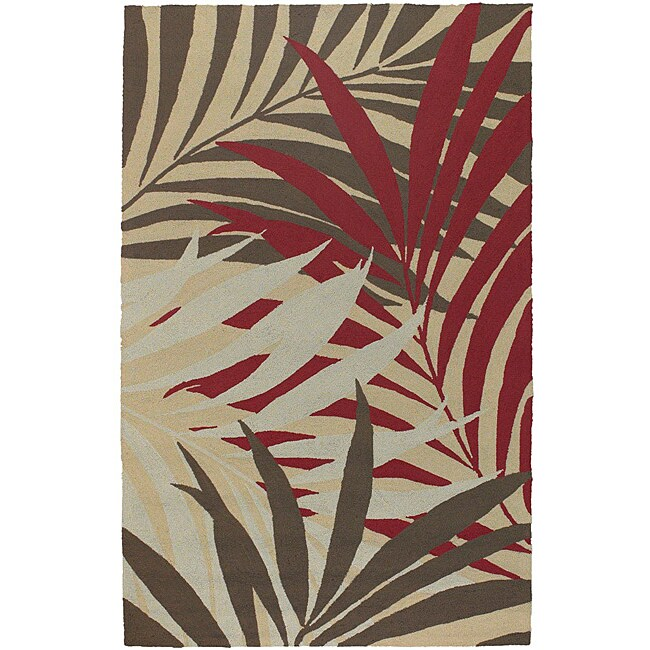 Hand-hooked Bliss Brown Indoor/Outdoor Floral Rug (9' x 12')
