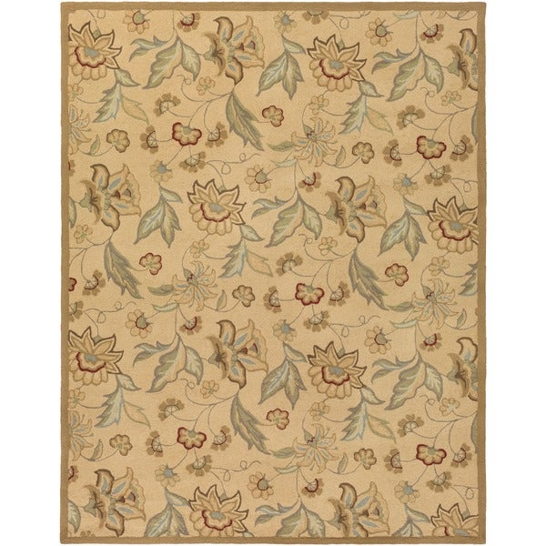 Hand-hooked Bliss Beige/Green Indoor/Outdoor Floral Rug (9