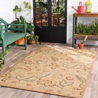 Hand-hooked Bliss Beige/Green Indoor/Outdoor Floral Area Rug - 9' x 12'