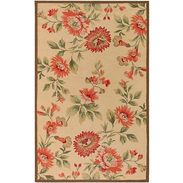 Hand-hooked Bliss Beige/ Green Rug (8' x 10')
