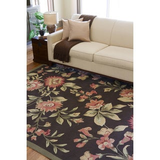 Hand-hooked Bliss Chocolate Indoor/Outdoor Floral Rug (8' x 10')