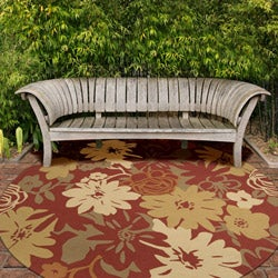 Hand-hooked Rain Tomato Red Floral Indoor/Outdoor Floral Rug (5' x8')