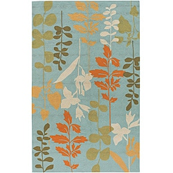 Hand-hooked Bliss Pale Blue Indoor/Outdoor Floral Rug (3' x 5')
