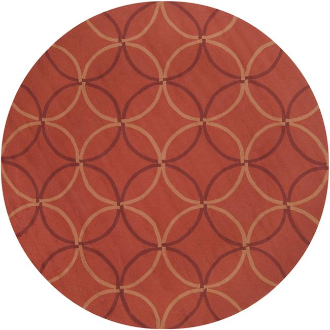 Hand-hooked Bliss Coral Indoor/Outdoor Moroccan Trellis Rug (8' Round) - Thumbnail 0