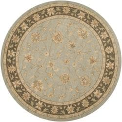 Hand-hooked Bliss Silver Sage Indoor/Outdoor Floral Border Rug (8' Round) - Thumbnail 1