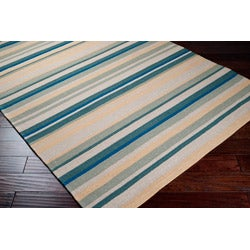 Hand-hooked Bliss Pale Yellow Striped Rug (5' x 8') - Thumbnail 1