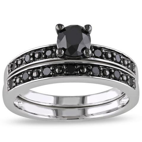 Miadora Silver and Black Rhodium-plated 1 CT Black Diamond TW Bridal Set Ring
