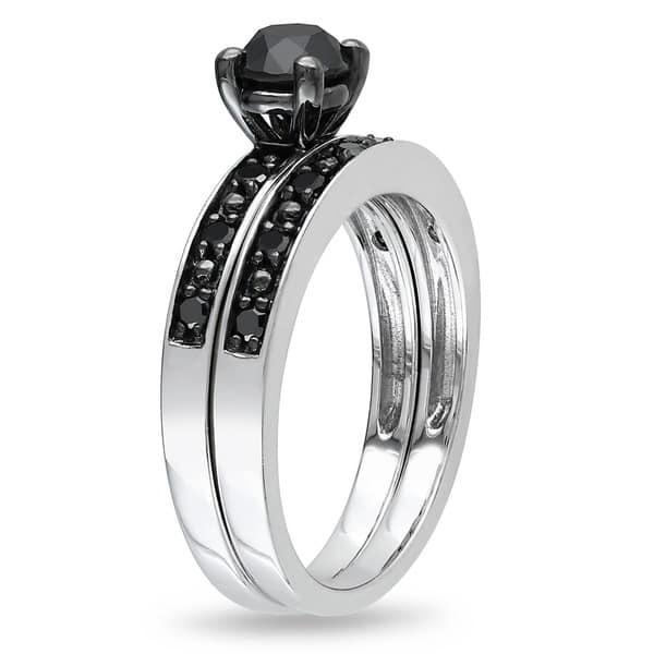 Shop Miadora Silver and Black Rhodium-plated 1 CT Black