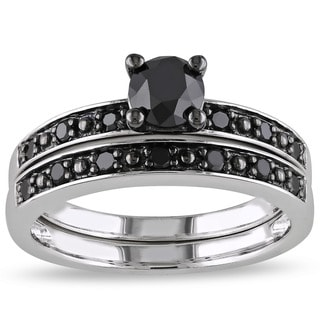 Miadora Silver and Black Rhodium-plated 1 CT Black Diamond TW Bridal Set Ring