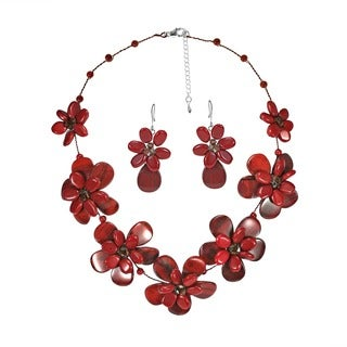 Jasper-Reconstructed Synthetic Coral Floral Red Necklace Earring Set