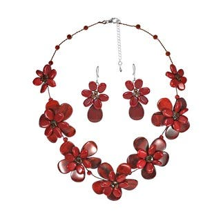 Jasper-Reconstructed Synthetic Coral Floral Red Necklace Earring Set|https://ak1.ostkcdn.com/images/products/5608567/P13369816.jpg?impolicy=medium