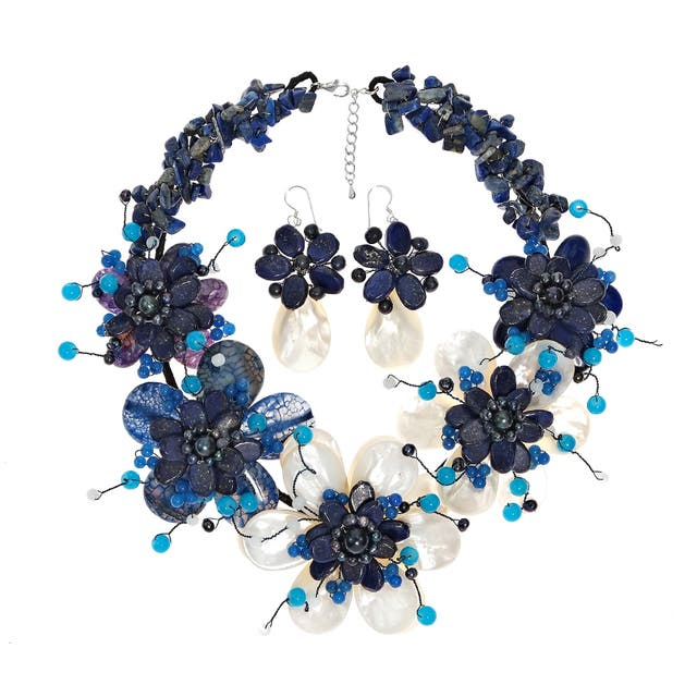 Multi-gemstone and Pearl Blue Floral Jewelry Set  5-8mm