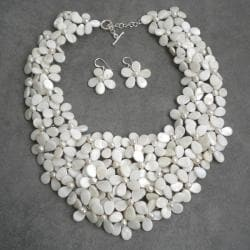 Mother of Pearl and Pearl White Mini Floral Jewelry Set (5-8 mm) (Thailand)