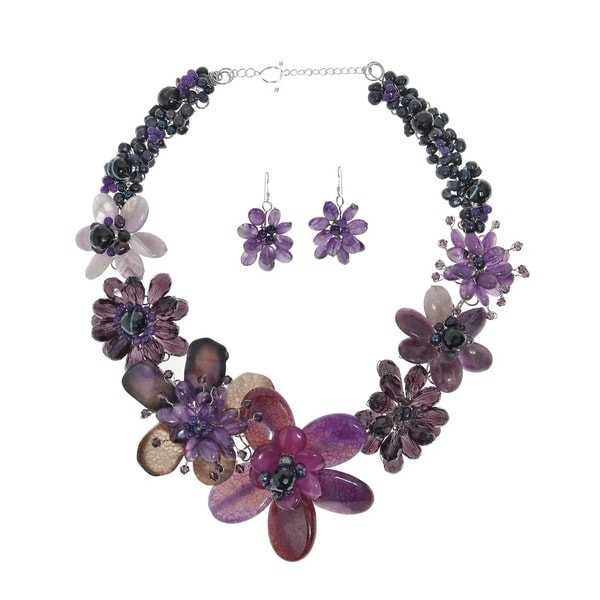 Handmade Agate/ Amethyst/ Pearl Purple Floral Jewelry Set (5-10 mm) (Thailand)