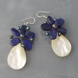 Handmade Lapis and Mother of Pearl Flower Drop Earrings (Thailand)