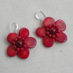 Beautiful Synthetic Coral Sterling Sterling Red Earrings (Thailand) - Thumbnail 1