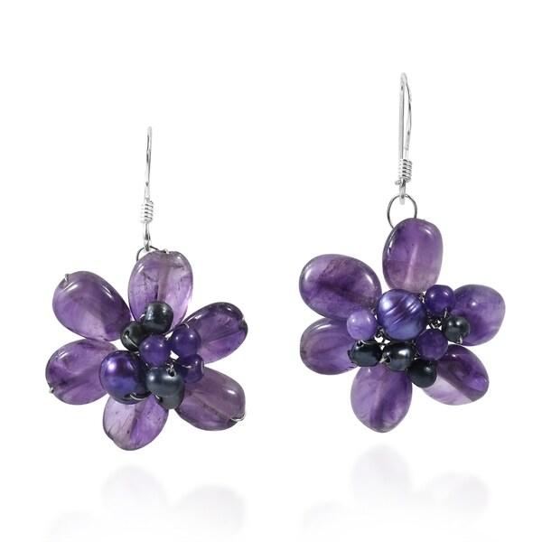 Amethyst Cluster Floral Earrings (Thailand)