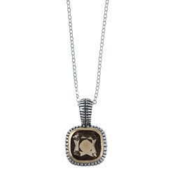 La Preciosa Two-tone Sterling Silver Brown Cubic Zirconia Necklace