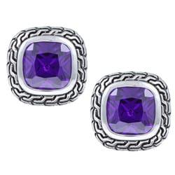 La Preciosa Sterling Silver Purple Cubic Zirconia Square Stud Earrings