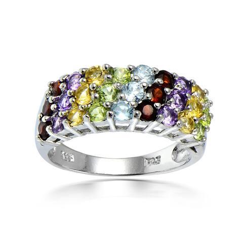 Glitzy Rocks Sterling Silver Multi-gemstone Fashion Ring
