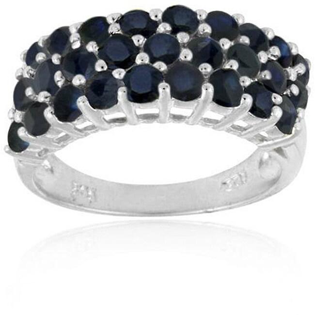 Glitzy Rocks Sterling Silver Multi-row Sapphire Ring