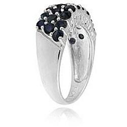 Glitzy Rocks Sterling Silver Multi-row Sapphire Ring - Thumbnail 1