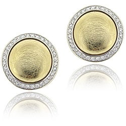 Icz Stonez Sterling Silver Cubic Zirconia Button Earrings